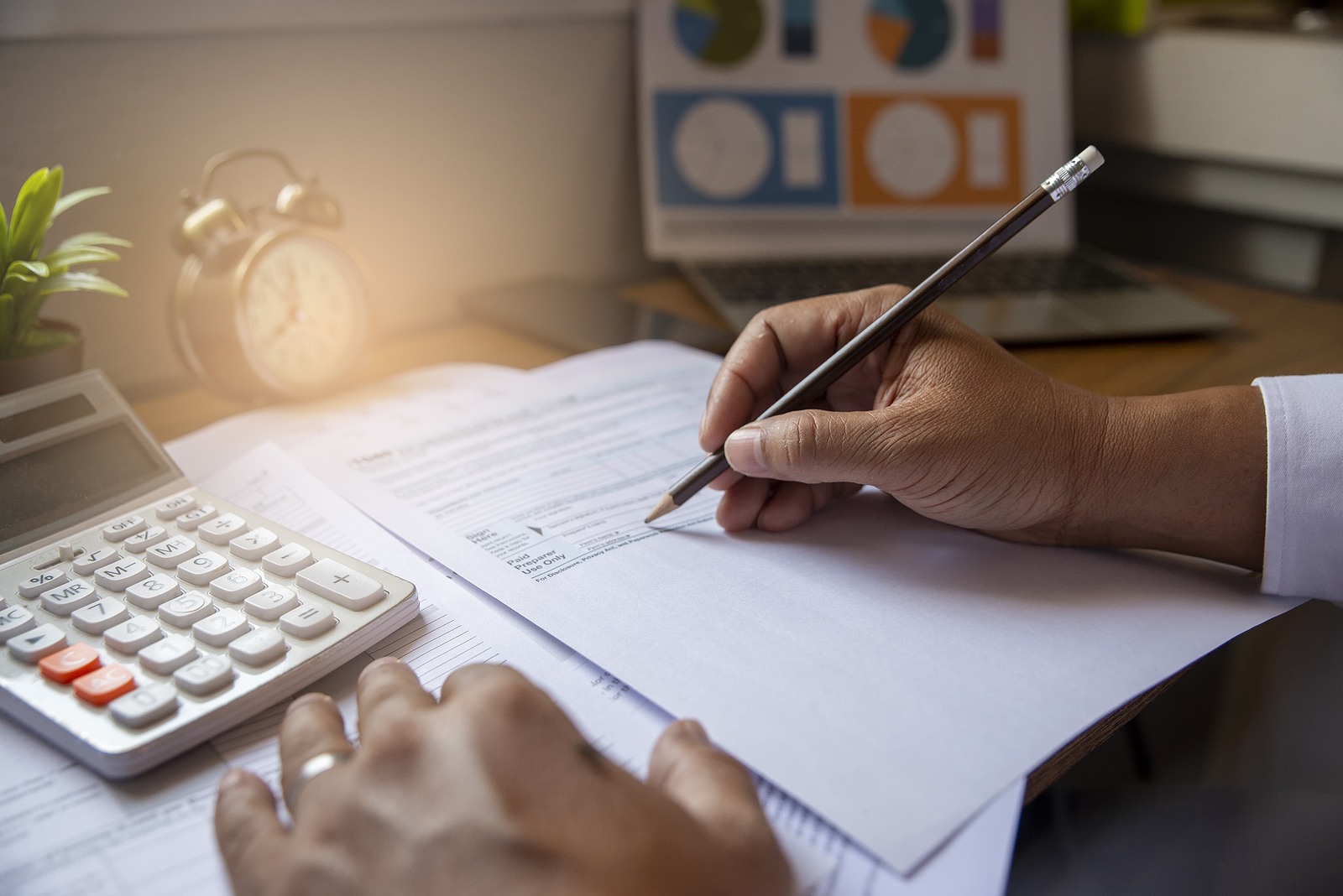 Budget Planning Concept,accountant Is Calculating Company's Annu